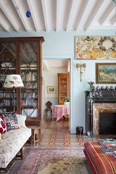 Eclectic Patterned Living Room | French Country Home