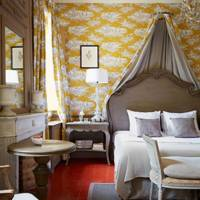 Yellow wallpaper at Domaine de la Baume