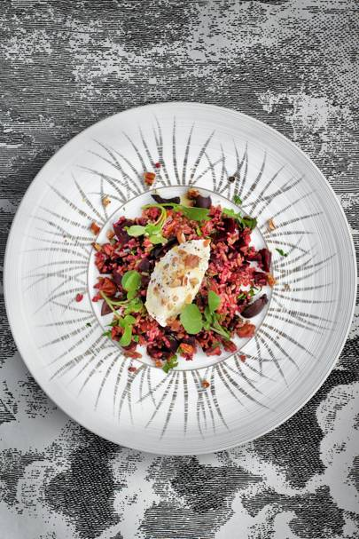 Freekeh with roast beetroot, goats' curd and pecans