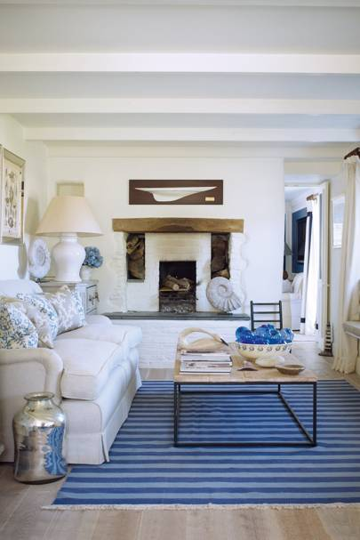 White, Blue, Nautical, Seaside, Stripes -Living Room Design Ideas & Picturess