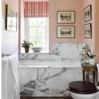 Marble Bath Surround, Pink Wallpaper - Small Bathroom Ideas
