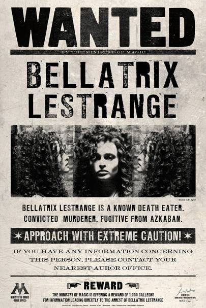 Bellatrix Lestrange Wanted Poster