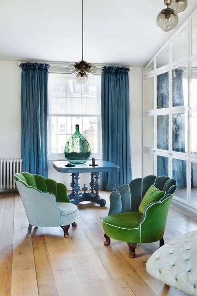 Green velvet chairs