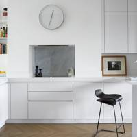 Small White Open Plan Kitchen