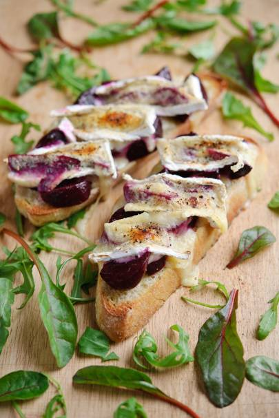 Beetroot & Melted Brie on Toast
