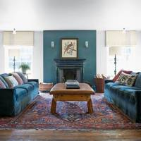 Blue sofas in large living room