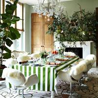 Green & White Christmas Table Decorations