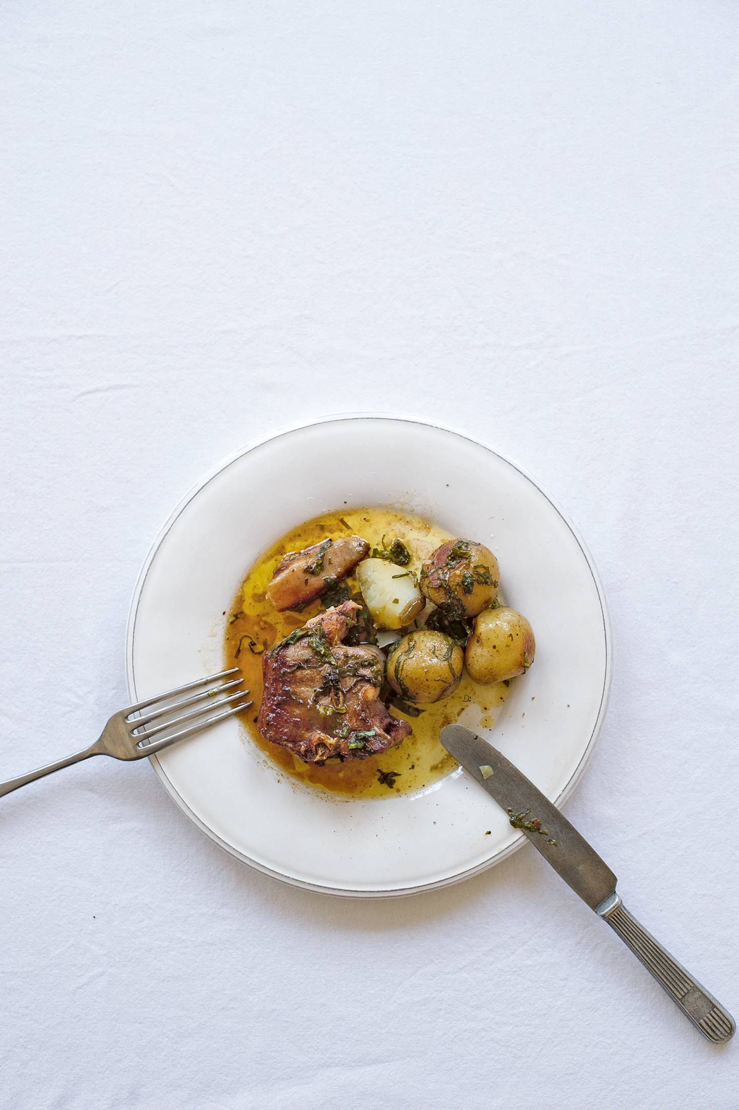 Sorrel buttered lamb chops with new potatoes