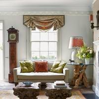 Neutral Living Room with Coral Accents
