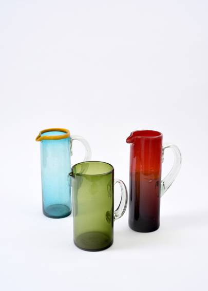 Turquoise carafe with yellow rim, green carafe with clear handle,  red & purple carafe, from £20