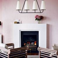 Pale pink art deco living room