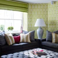 Lime Green Patterned Wallpaper, Ottoman - Living Room Design Ideas & Pictures
