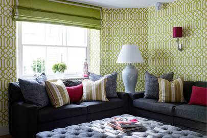 Lime Green Patterned Wallpaper, Ottoman   Living Room Design Ideas U0026  Pictures