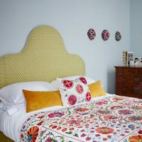 Blue Bedroom with Suzani Bedspread