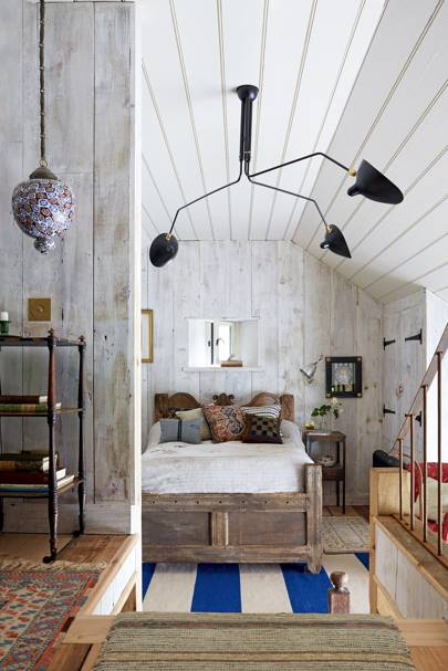 Tiny Barn Bedroom White Wood Panelling