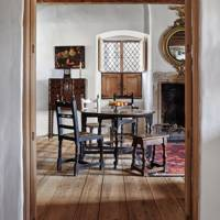 Whitewashed and Wood Dining Room