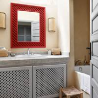 Red Statement Mirror bathroom