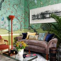Small Luxe Wallpaper Living Room