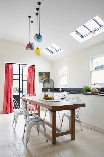 Kitchen with Glass Pendant Lights