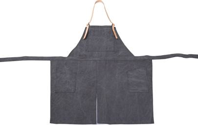 Heavy Cotton Canvas Apron with Brown Leather Straps