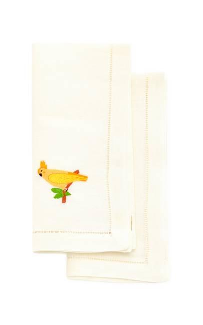 Mercedes Salazar cacatua rosa set of 2 linen napkins, £115