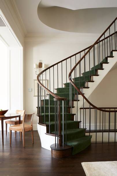 Green Carpet Spiral Staircase