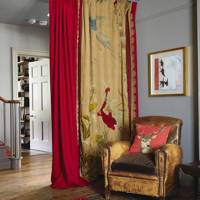 Hall with embroidered curtains