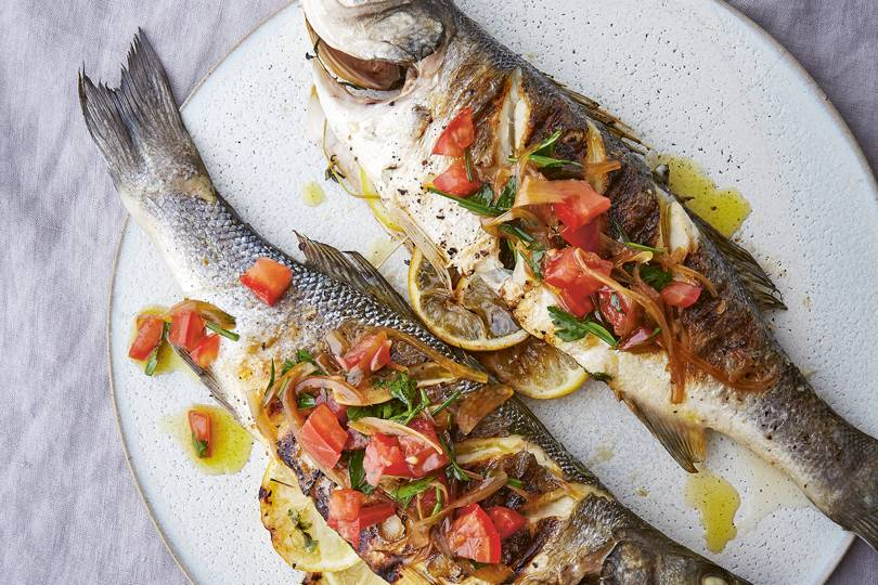 Barbecued sea bass