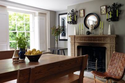 Small Grey Traditional Dining Room