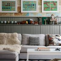 Map living room wallpaper and grey tongue & groove panelling