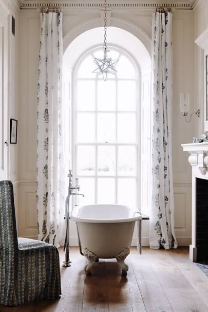 Country Bathroom with Robert Kime Curtains
