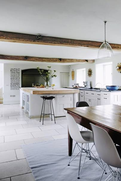 White Kitchen Units & Limestone Floor