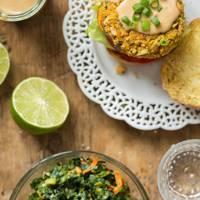 Thai sweet potato veggie gurgers with spicy peanut sauce