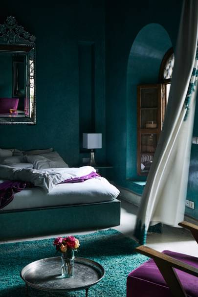 Teal Bedroom with Arch