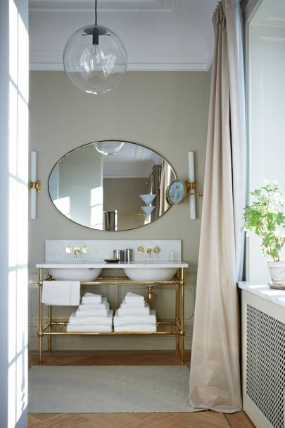 White marble and gold double vanity