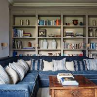 Grey Living Room With Blue Sofa