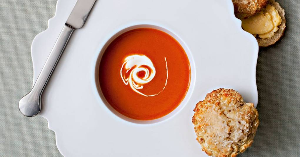 Spiced tomato soup with cheese scones