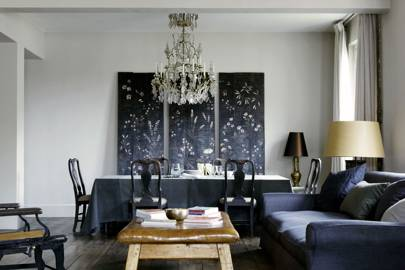 Modern living room with wall mural
