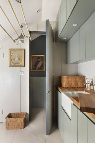 Grey Panelled Utility Room | Small Space Ideas