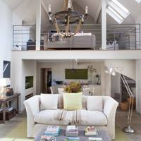 Mezzanine Level in White Living Room