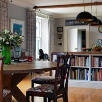 Dining Area with Bookcase Counter