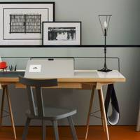 Modern Office With Artwork Shelf
