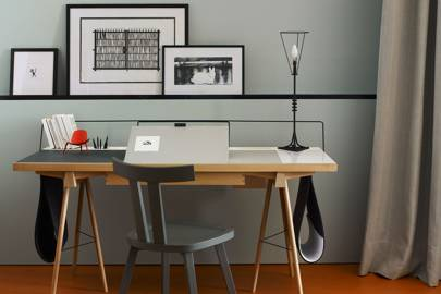 Modern Office With Artwork Shelf