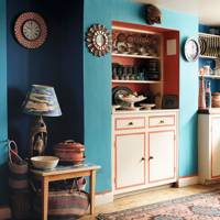 Turquoise and Red Colourful Kitchen
