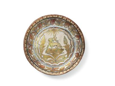 Lot 95: An Italian Maiolica Copper-Lustred Dish (Property from the estate of Mr Gerard Arnhold), first quarter of the 16th century, probably Cafaggiolo (estimate £1,200-£1,800)