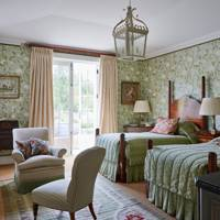 Green Floral Wallpaper Twin Bedroom