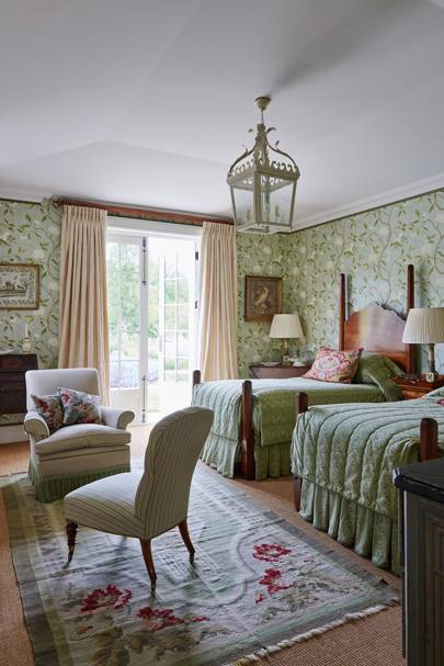 Green Floral Wallpaper Twin Bedroom