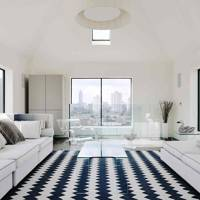 Monochromatic Sitting Room With Views of London