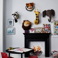 Stuffed Animal Heads in Kids Room