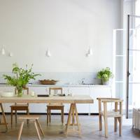 Minimal White Kitchen With Dining Table